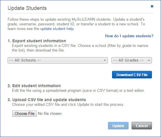 Update students from a file